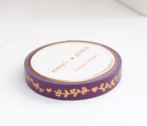 WASHI TAPE 7.5mm - HEART & VINE PURPLE PLUM + rose gold foil (October 2019 Release)