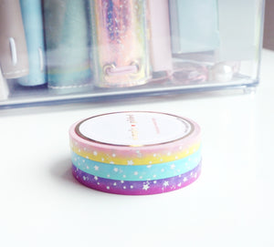 MINI WASHI TAPE SET 5mm - SUMMER SUNSET OMBRE - SHOOTING STARS  + silver holo foil (Last Chance)