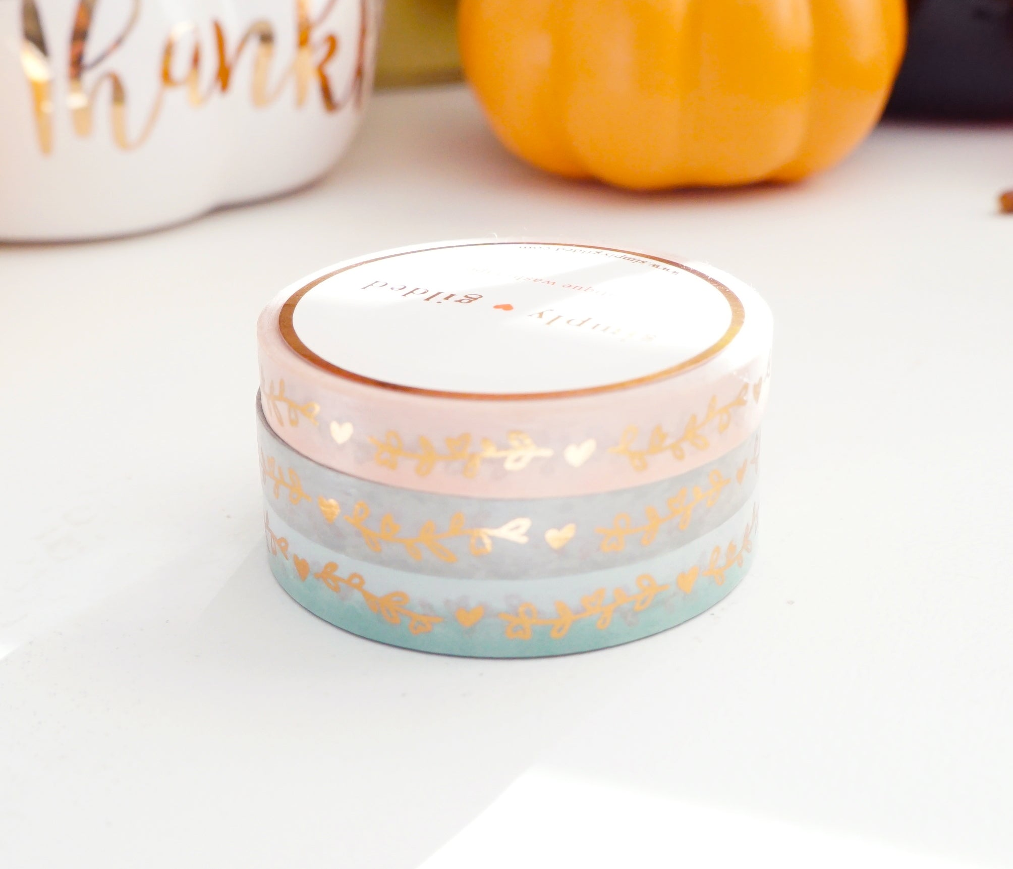 WASHI TAPE 7.5mm set of 3 - HEART & VINE SWEET SAGE + rose gold foil (October 2019 Release)