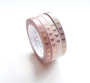 WASHI TAPE 5mm - VERTICAL BOW BLUSHBABY + rose gold foil set