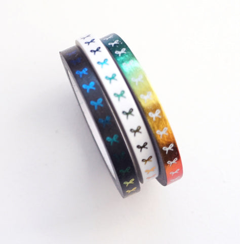 5mm WASHI TAPE RAINBOW BOW trio - Black/White/Rainbow + VERTICAL (Black Friday 19 Release)