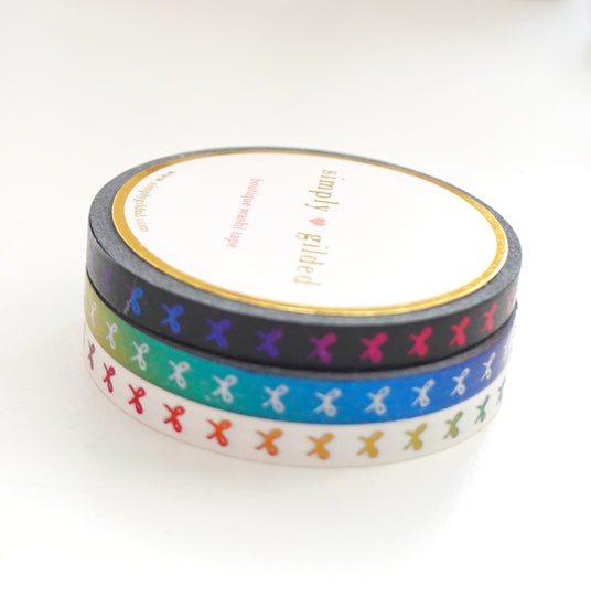 5mm WASHI TAPE RAINBOW BOW trio - Black/White/Rainbow + VERTICAL