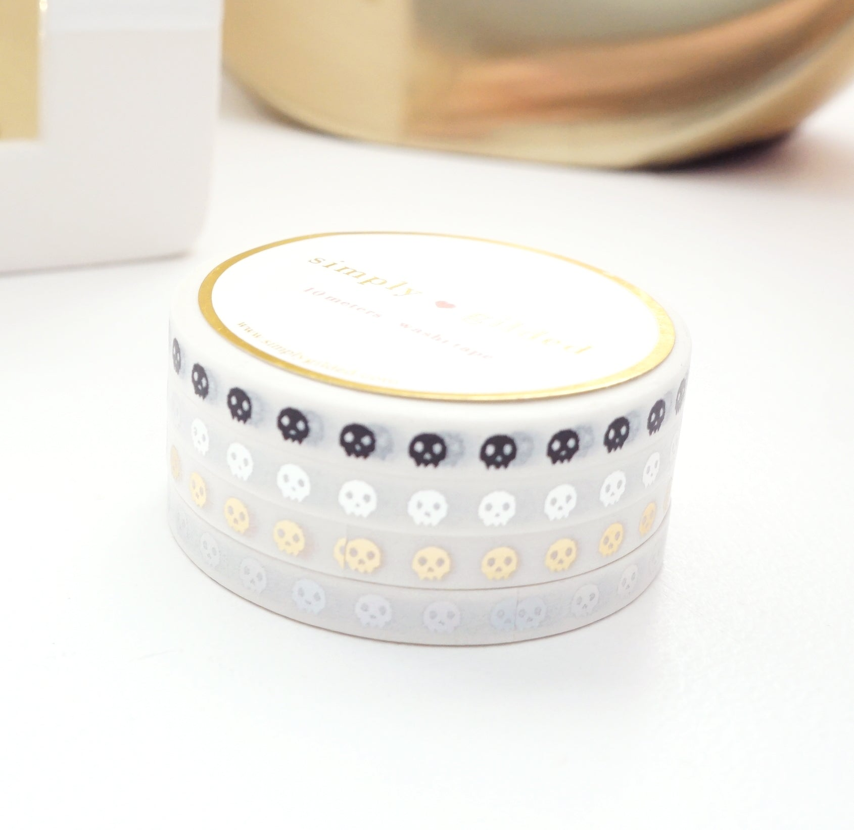 MINI 5mm WASHI TAPE set of 4 - WHITE SKULLS + black/silver/light gold/holographic silver foil (September Release)
