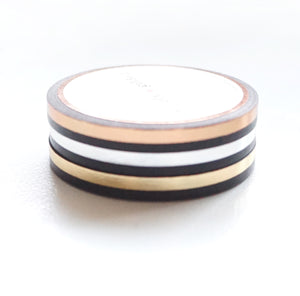 5mm set of 3 WASHI - Black Color Block + light gold/silver/rose gold foil OOPS*