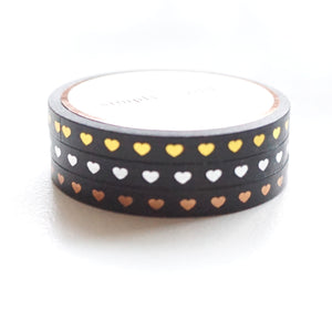 5mm set of 3 WASHI - Black HEARTS + light gold/silver/rose gold foil