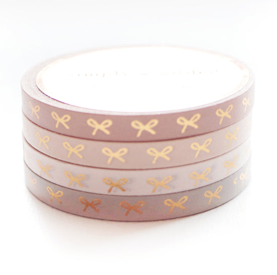 WASHI 5mm set of 4 - Blushbaby Horizontal Bows + rose gold foil