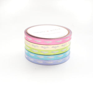 WASHI 5mm BATS set of 5 - CANDY COATED METALLIC + white BATS