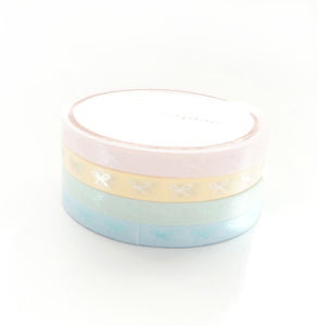 5mm HORIZONTAL bow set of 4 - Chic PASTELS + pearl pink/green/blue/matte gold (May Release)