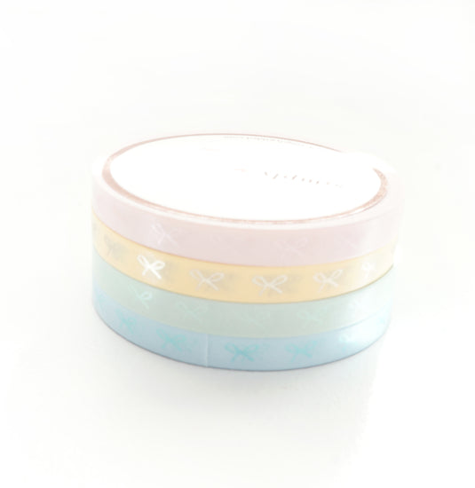 5mm HORIZONTAL bow set of 4 - Chic PASTELS + pearl pink/green/blue/matte gold