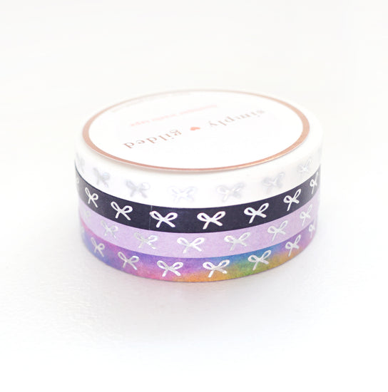 WASHI 5mm - Horizontal BOW (white/black/lavender/rainbow bright) + silver crystal holo