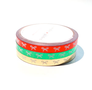 WASHI 5mm HORIZONTAL bow set of 3 - Metallic red/green/light gold + White