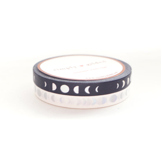 PERFORATED 6mm set of 2 - MOON PHASE Black / White + you pick foil