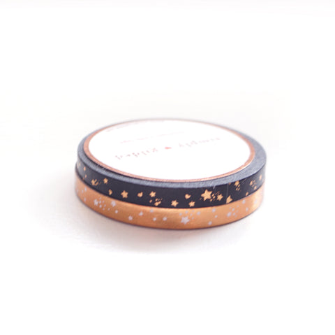 WASHI 5mm set of 2  - Midnight 2 Galaxy SHOOTING STARS + rose gold foil