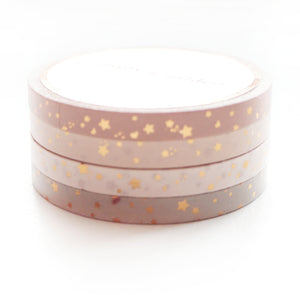 WASHI 5mm set of 4 - Blushbaby SHOOTING STARS + rose gold foil