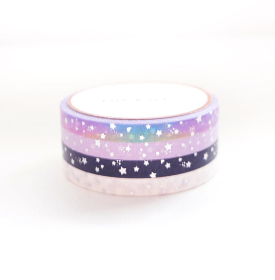 WASHI 5mm - Shooting Star (white/black/lavender/rainbow bright) + silver crystal holo