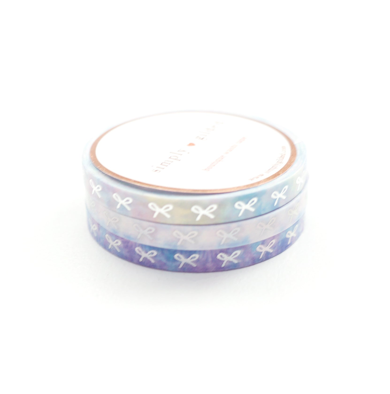 5mm WASHI TAPE set of 3 - TIE-DYE HORIZONTAL BOWS TRIO  + silver / silver holographic (June 22nd Release)