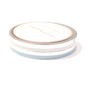 5mm set of 2 WASHI - BLIZZARD color block + silver