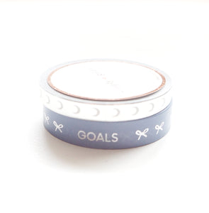 WASHI 6mm perforated silver moon inverse / 10mm blue tasks + silver (LULLABY MOON)