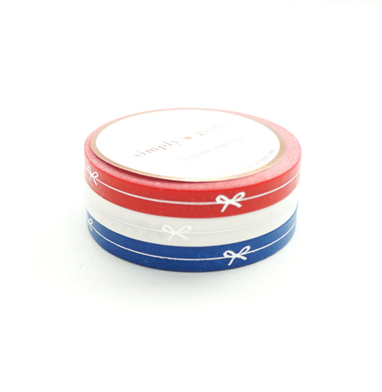 PERFORATED WASHI TAPE 6mm set of 3 - red/white/blue SIMPLE BOW LINE + silver foil (June 22nd Release)