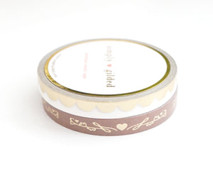 PERFORATED WASHI TAPE 6mm set of 2 - CHOCOLATE HEART & VINE/WHITE SCALLOP + matte gold foil (Sugar Collection)