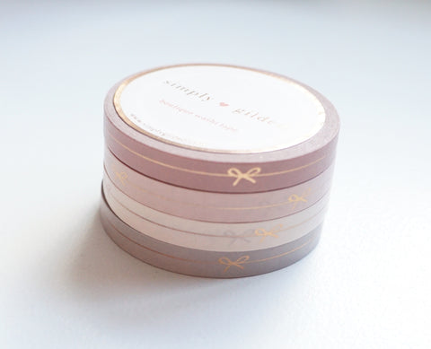 PERFORATED WASHI TAPE 6mm - BLUSHBABY BOW LINE SET of 4 + rose gold foil (January 10 Release)