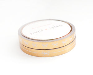 PERFORATED WASHI TAPE 6mm set of 2 - HORIZONTAL BOW/SIMPLE BOW LINE + rose gold foil (Clarity)