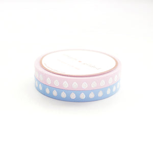 PERFORATED WASHI TAPE 6mm set of 2 - LILAC/Periwinkle HYDRATION droplets + silver sparkler holo