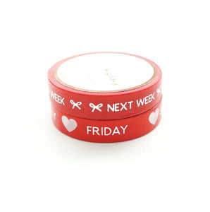 BUNDLE - PERFORATED WASHI TAPE 10mm set of 2 - Days of the Week & Tasks CLASSIC RED + silver foil text (June 22nd Release)