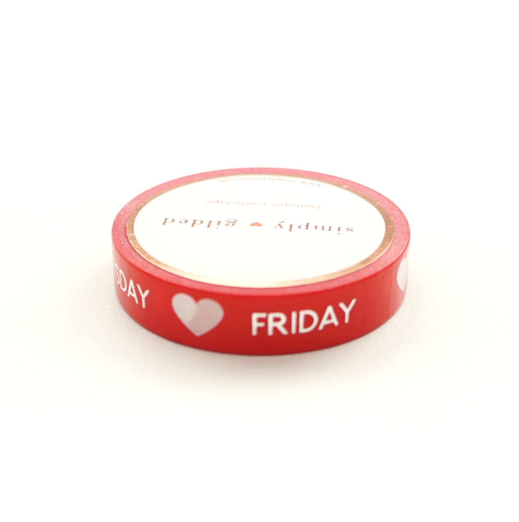 PERFORATED WASHI TAPE 10mm - DAYS of the WEEK Classic Red + silver foil text