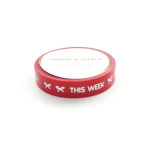 PERFORATED WASHI TAPE 10mm - TASKS Classic Red + silver foil text