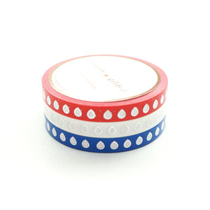 PERFORATED WASHI TAPE 6mm set of 3 - red/white/blue HYDRATION droplets + sparkling holographic (June 22nd Release)