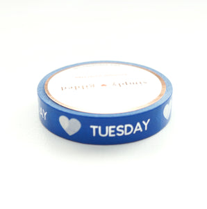 PERFORATED WASHI TAPE 10mm - DAYS of the WEEK True Blue + silver foil text