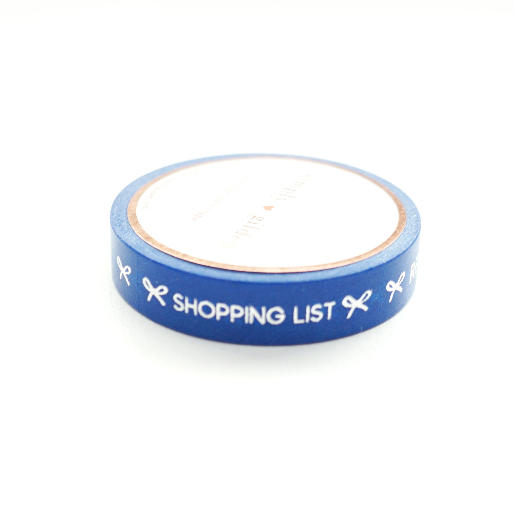 PERFORATED WASHI TAPE 10mm - TASKS True Blue + silver foil text