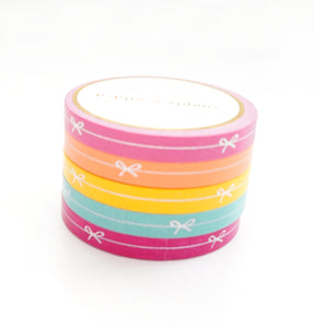 PERFORATED WASHI TAPE 6mm set of 5 - Funky & Fresh PERFORATED SIMPLE BOW LINE + silver holographic foil