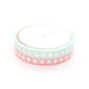 PERFORATED WASHI TAPE 6mm set of 2 - HYDRATION droplets CORAL/MERMINT + sparkler silver holo (Mermaid Dreams Release)