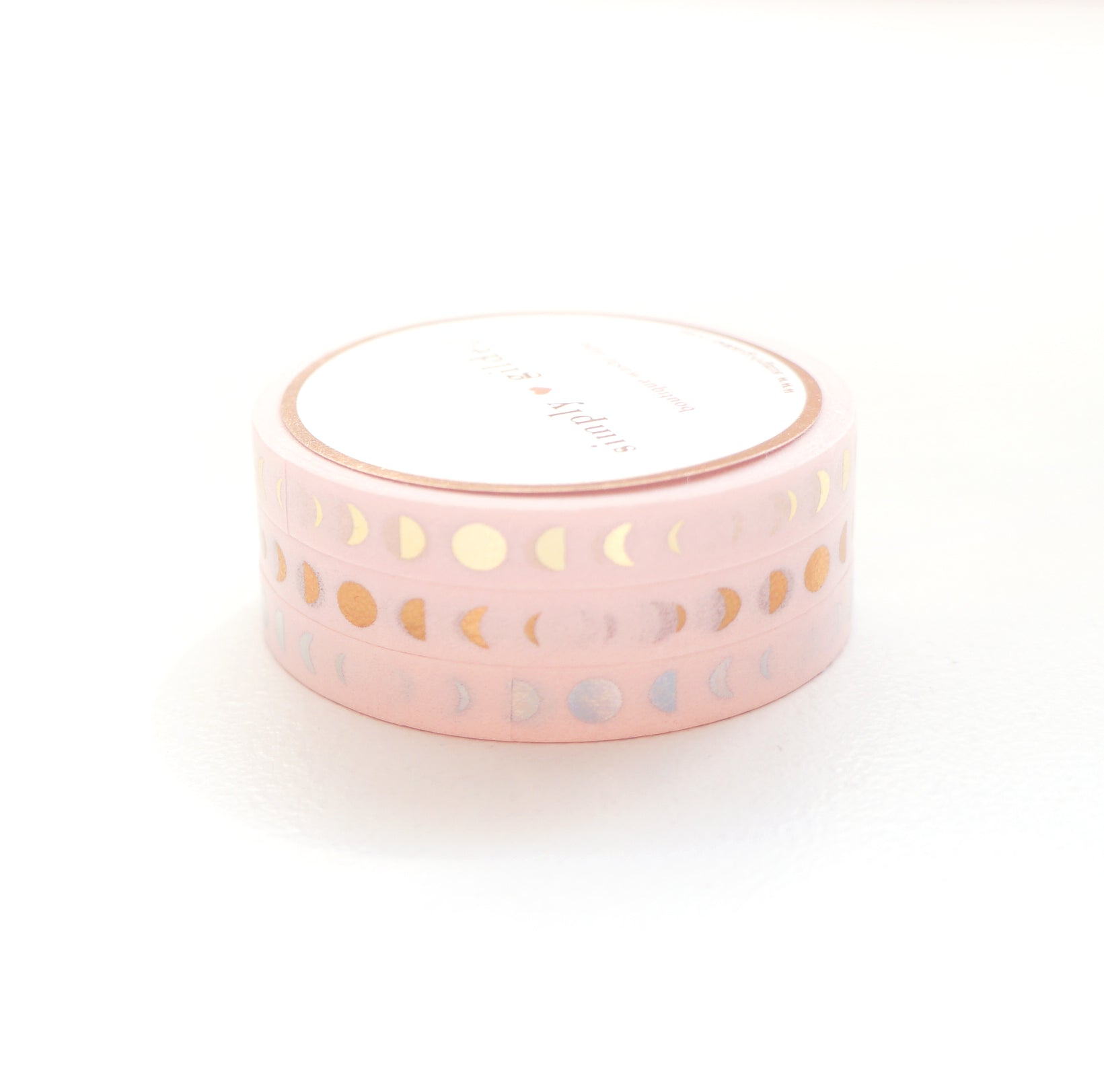 PERFORATED 6mm set of 3 - Moon Phase CLASSIC PINK + lt. gold/rose gold/silver holo