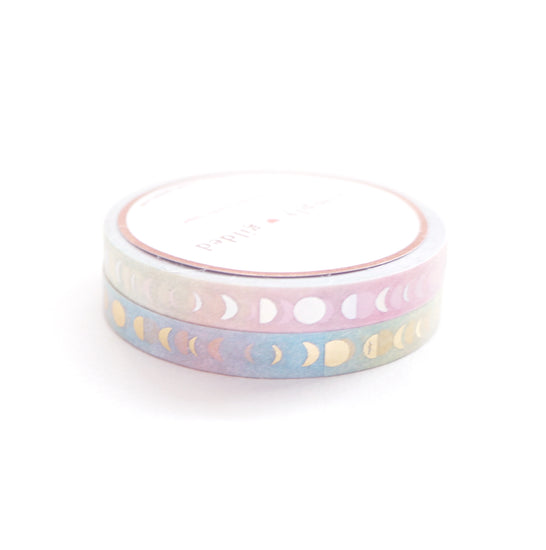 PERFORATED 6mm set of 2 - Moon Phase PASTEL RAINBOW + lt gold/silver holo