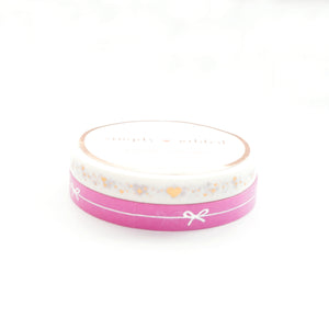 PERFORATED WASHI TAPE 6mm set of 2 - Masterpiece pink simple bow line/white shimmer heart + silver/rose gold (Mystery Monday)
