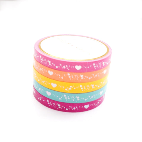 PERFORATED WASHI TAPE 6mm set of 5 - Funky & Fresh SHIMMER HEART + silver holographic (May Release, Presale) LIMIT of 2
