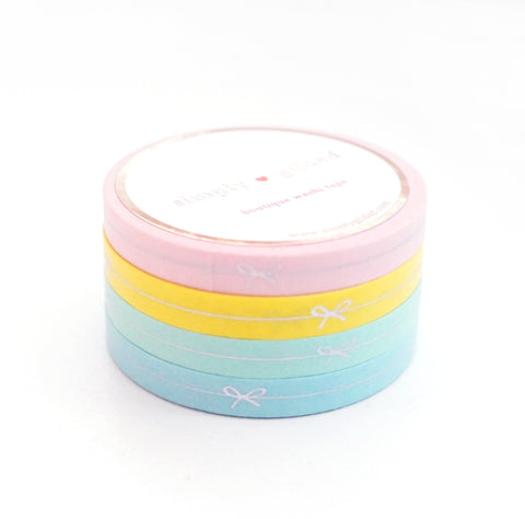 PERFORATED WASHI TAPE 6mm - SPRING BOW LINE set of 4 + silver holographic foil (Spring Release)