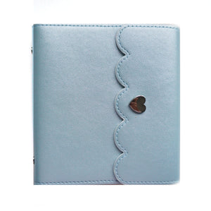 MINI STICKER ALBUM - FROSTY BLUE with scattered dot silver interior + Silver Hardware