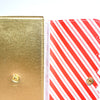 LARGE STICKER ALBUM - GOLD with red and white striped interior + Gold Hardware