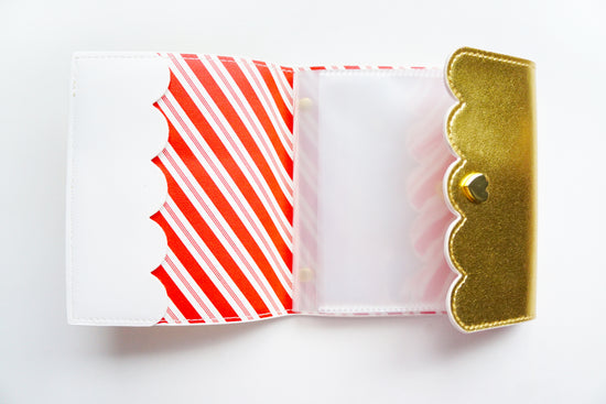 MINI ALBUM - GOLD with red and white striped interior + Gold Hardware