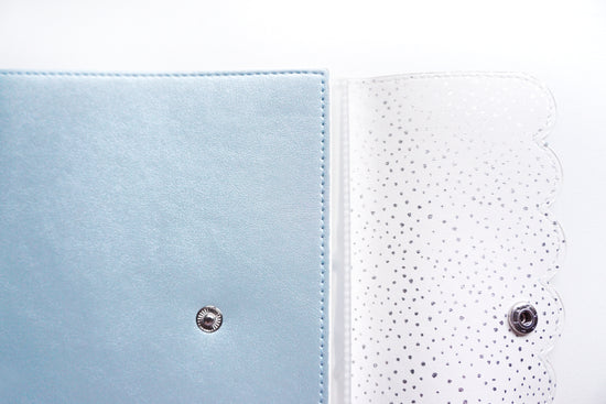 LARGE STICKER ALBUM - FROSTY BLUE with scattered dot interior + Silver Hardware