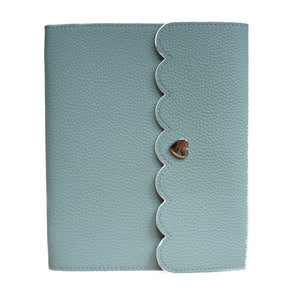 LARGE STICKER ALBUM - Teal Pebble with Blush Pebble Interior + silver hardware