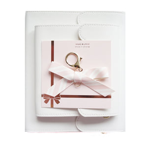BUNDLE - WHITE Sticker Albums & CHOICE of Bow Charm