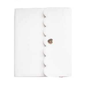 LARGE STICKER ALBUM - WHITE with pink and white striped interior + Light Gold Hardware