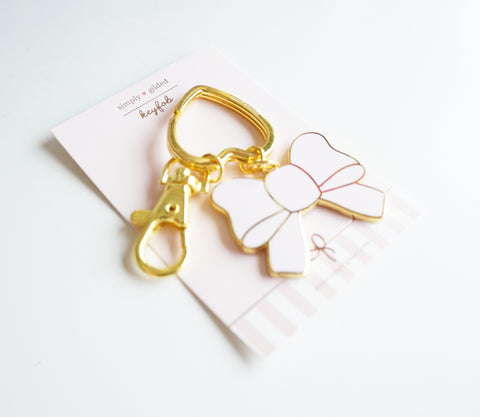 KEYCHAIN - PINK BOW gold hardware (Anniv. Box) (Last Chance)