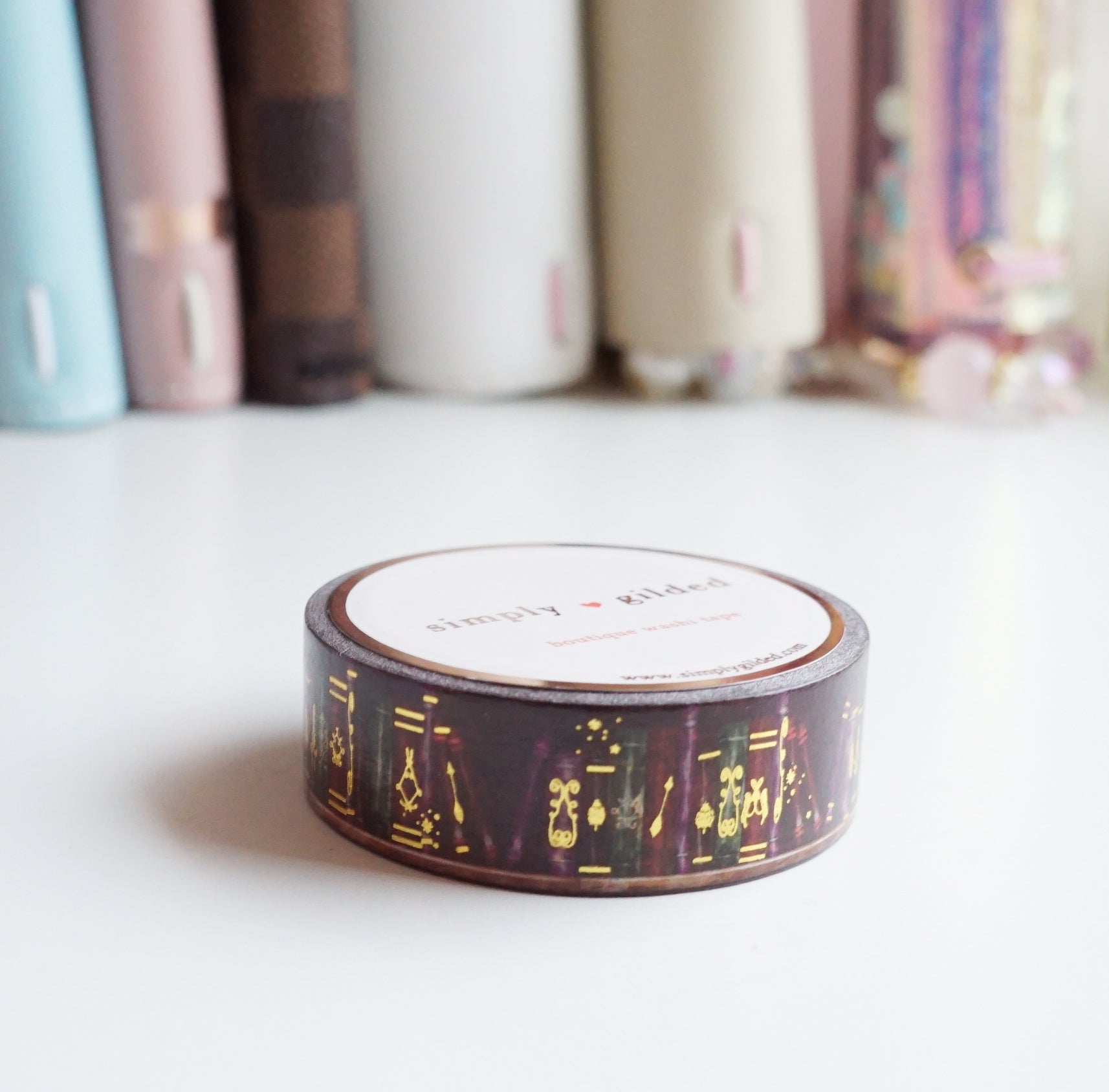 WASHI TAPE 15mm ANTIQUE BOOKS 2.0 + gold foil
