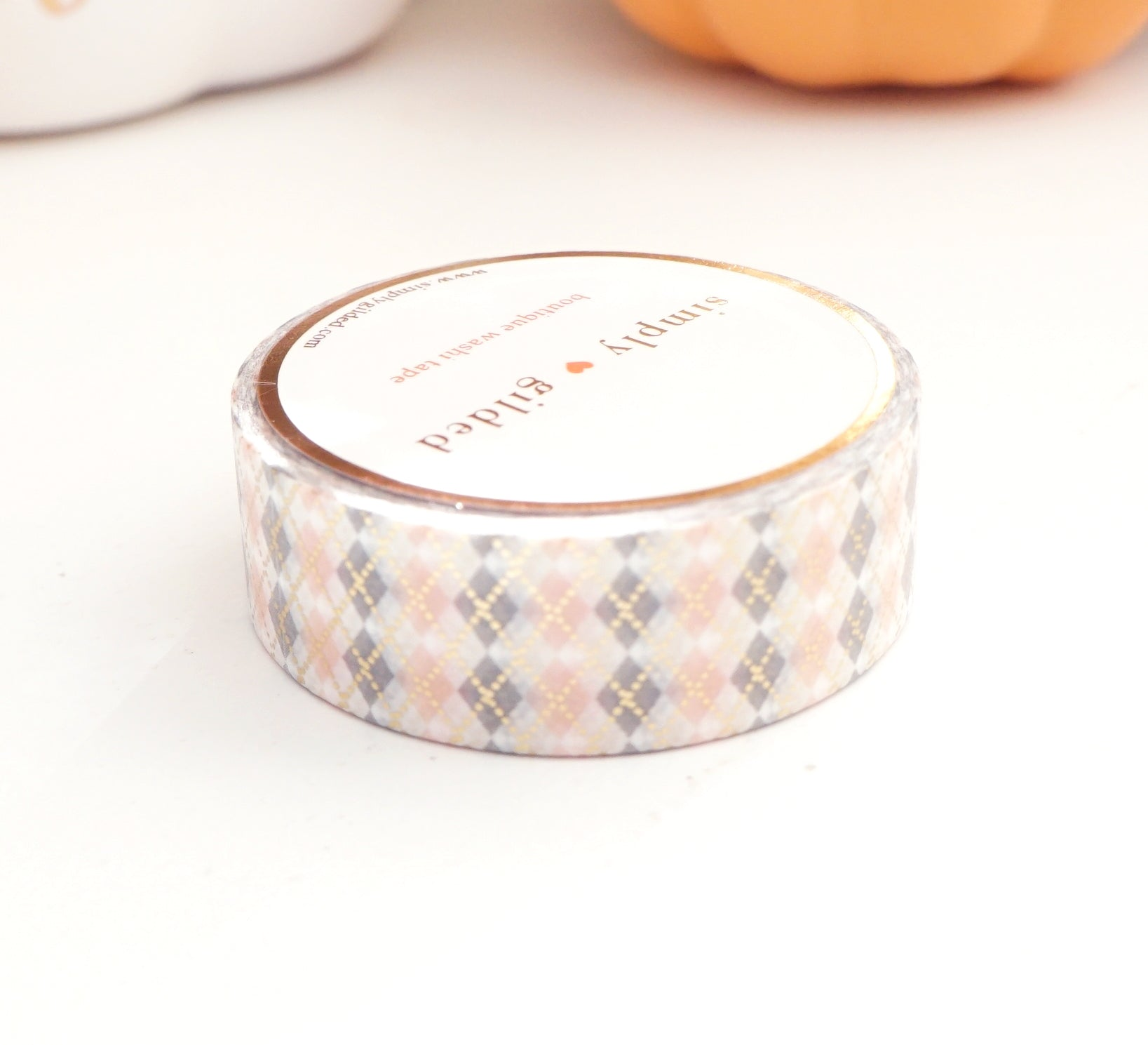 WASHI TAPE 15mm - ARGYLE PRINT GREY & PINK + lt. gold foil (October 2019 Release)